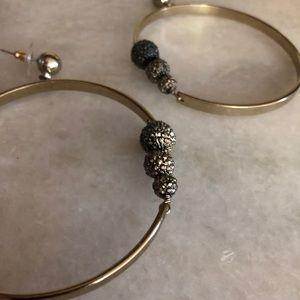 Gold Hoop Earrings with Rhinestones